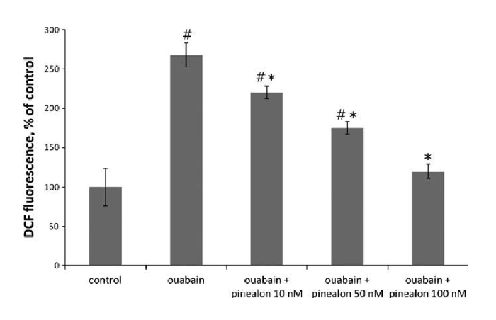 Measure of reactive oxygen species in controls, those exposed to ouabain, and animals exposed to both ouabain and pinealon at various doses.
